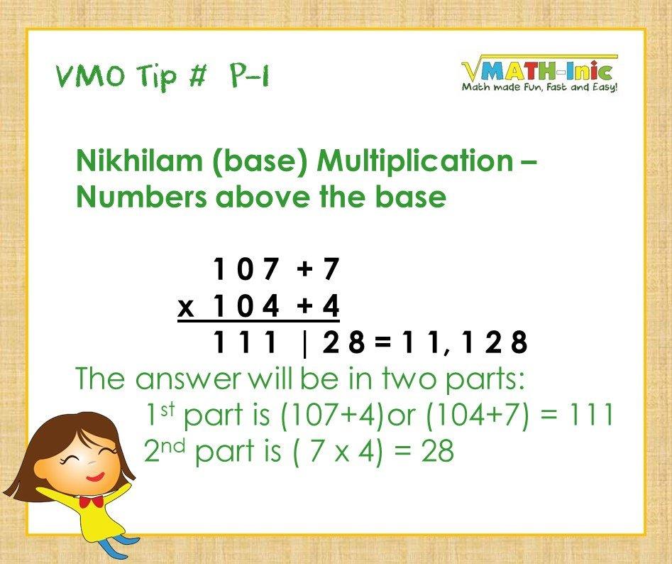 VMO P-1 Nikhilam (base) Multiplication: Numbers Above The Base